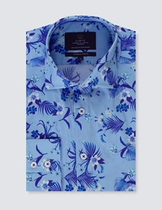 Men's Curtis Blue Floral Piccadilly Slim Fit Shirt - Low Collar - Single Cuff
