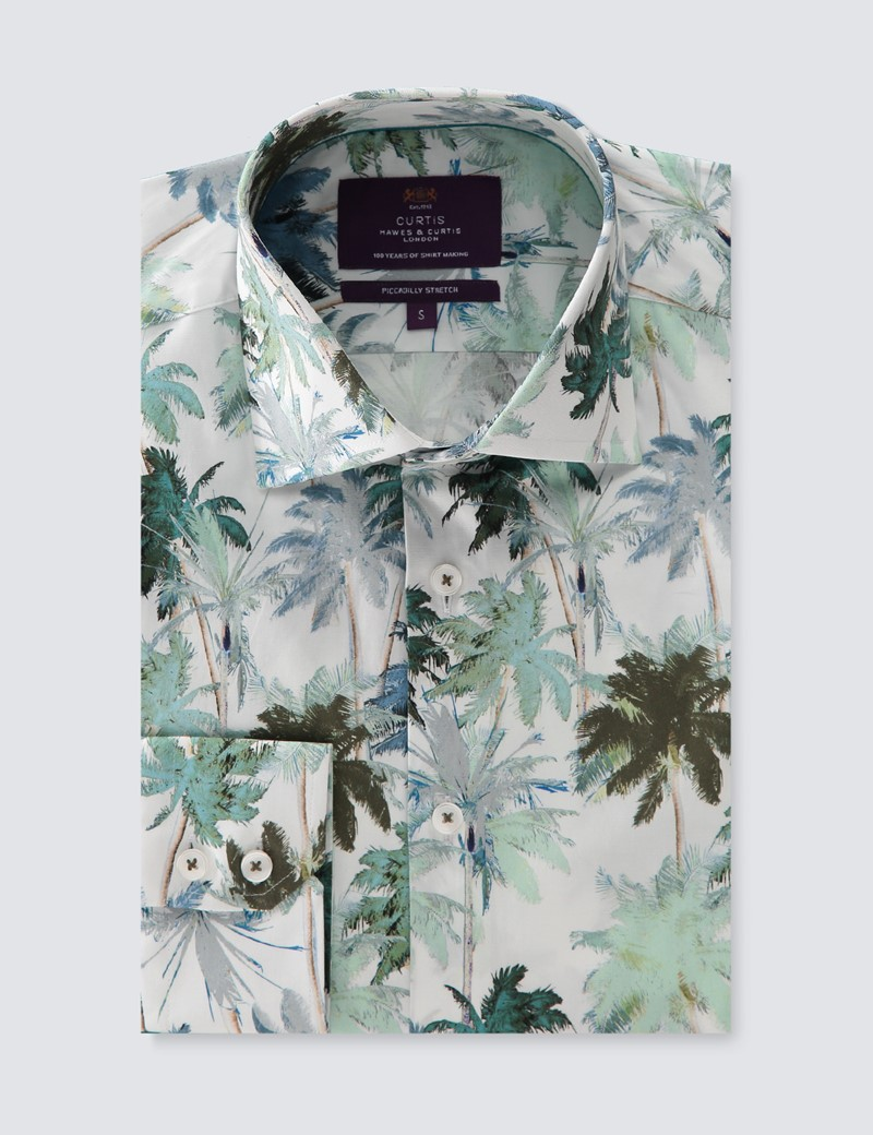 Men's Curtis White & Green Palm Trees Piccadilly Stretch Slim Fit Shirt - Low Collar - Single Cuff