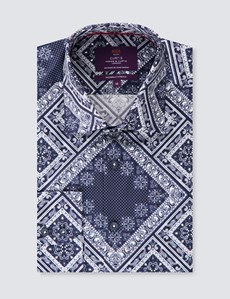 Men's Curtis Blue & Navy Diamonds Print Stretch Slim Fit Shirt - Low Collar - Single Cuff