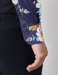 Men's Curtis Navy & Orange Floral Print Stretch Slim Fit Shirt - Low Collar - Single Cuff