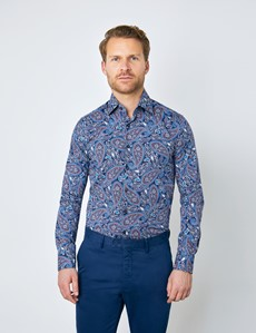 Casual Stretchhemd –  Stretch Slim Fit –  blau orange Paisley