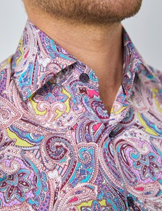 Men's Curtis Wine & Pink Paisley Print Stretch Slim Fit Shirt - Low Collar - Single Cuff