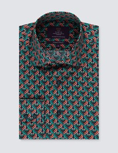 Men's Curtis Navy & Turquoise Print Stretch Slim Fit Shirt - Single Cuff