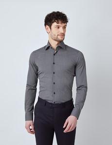 Casual Stretchhemd – Stretch Slim Fit – Kentkragen – Schwarz Weiß geometrisches Muster