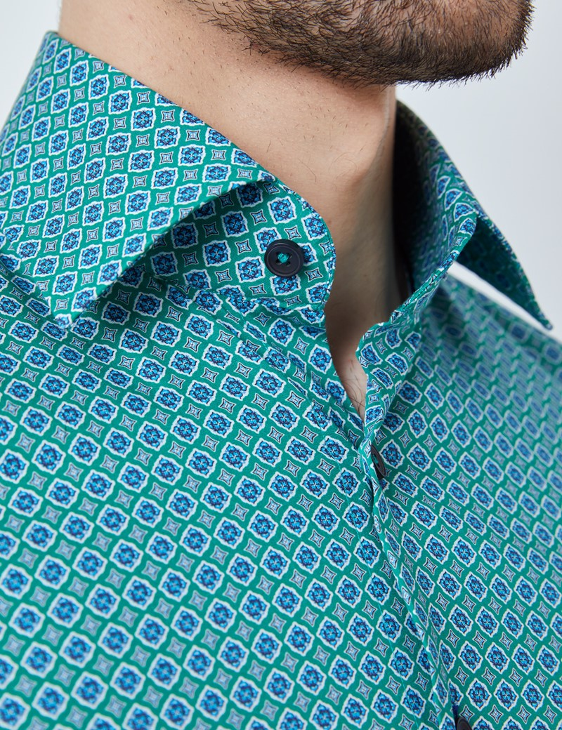 Men's Curtis Green & Blue Geometric Print Stretch Slim Fit Shirt - Single Cuffs