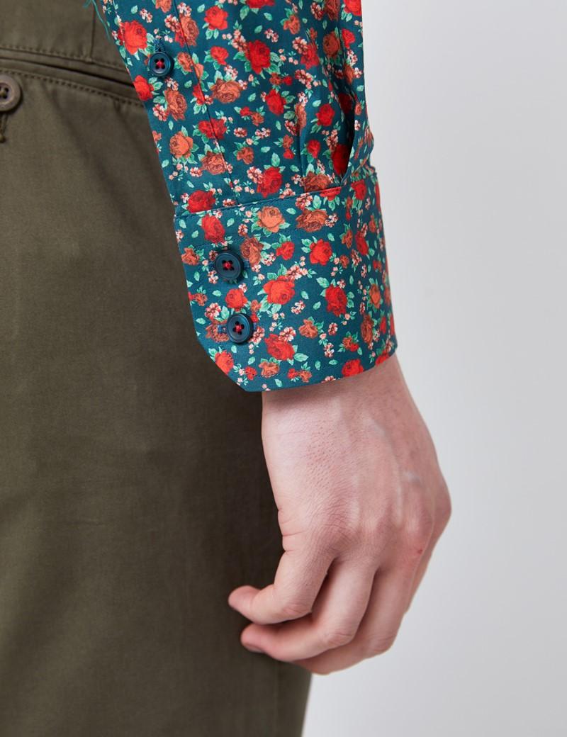 Casual Stretchhemd – Relaxed Slim Fit – Kentkragen – Grün Rot Rosen