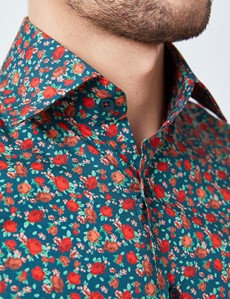 Men's Curtis Green & Red Floral Print Relaxed Slim Fit Shirt – Single Cuffs