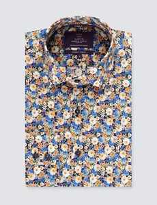 Men's Curtis Navy & Cream Floral Print Stretch Slim Fit Shirt - Single Cuff