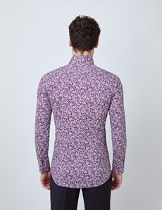 Men's Curtis Purple & White Floral Stretch Slim Fit Shirt - Single Cuffs