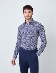 Men's Curtis Navy & White Floral Print Stretch Slim Fit Shirt - Single Cuffs