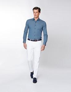 Men's Curtis Navy & Turquoise Tartan Diamond Print Stretch Slim Fit Shirt - Low Collar