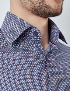 Men's Curtis Navy & Plum Geometric Print Stretch Slim Fit Shirt - Single Cuffs