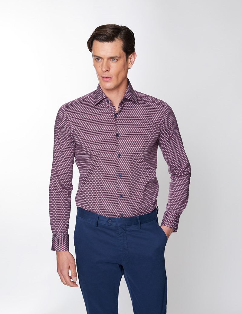 Men's Curtis Printed Red & Navy Piccadilly Stretch Slim Fit Shirt - Low Collar - Single Cuff
