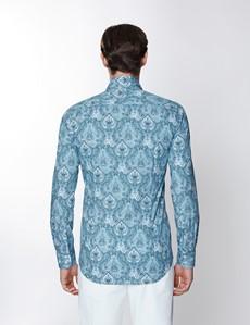 Men's Curtis White & Blue Paisley Print Stretch Slim Fit Shirt - Low Collar