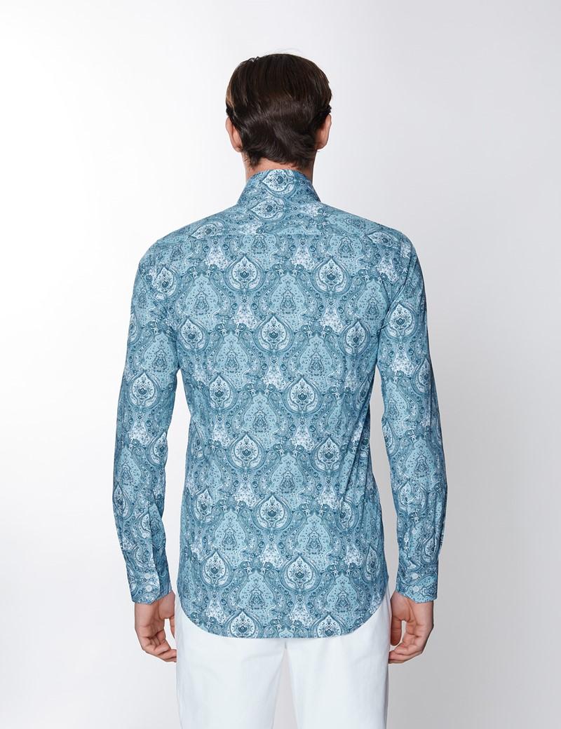 Casual Stretchhemd – Stretch Slim Fit – Kentkragen – Paisley Print 50er blau weiß