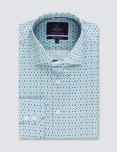 Men's Curtis Light Blue & Green Geometric Print Stretch Slim Fit Shirt - Low Collar