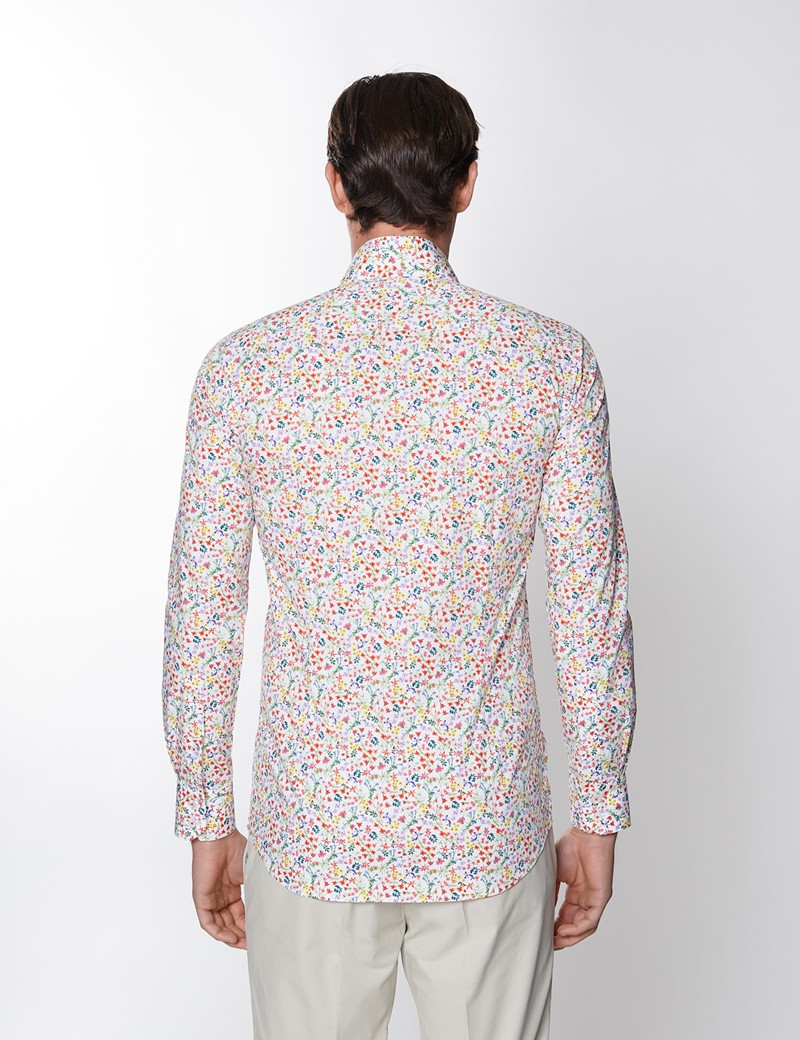 Men's Curtis White & Red Floral Print Stretch Slim Fit Shirt - Low Collar