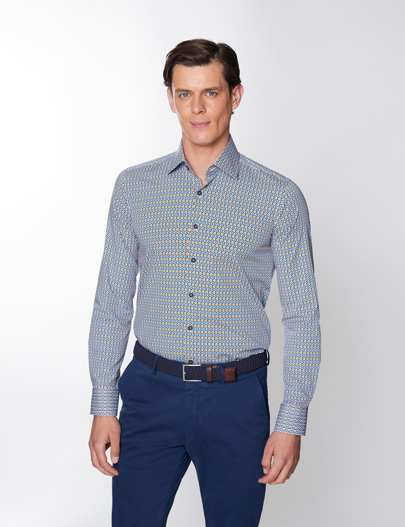 Men's Curtis Blue & Pink Geometric Print Stretch Slim Fit Shirt - Low Collar