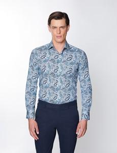 Men's Curtis White & Blue Floral Print Stretch Slim Fit Shirt - Low Collar