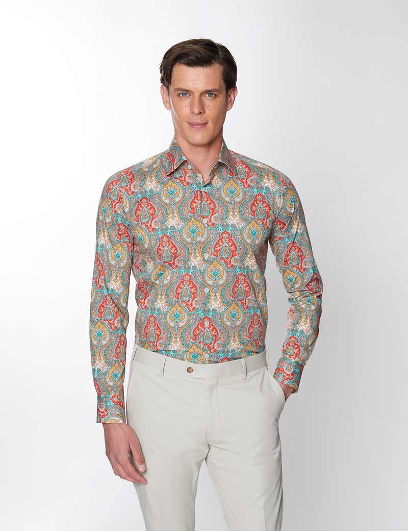Men's Curtis Paisley Red & Blue Piccadilly Stretch Slim Fit Shirt - Low Collar - Single Cuff