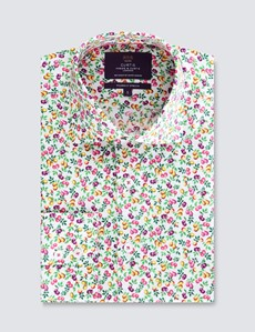 Men's Curtis Print White & Yellow Piccadilly Stretch Slim Fit Shirt - Low Collar - Single Cuff