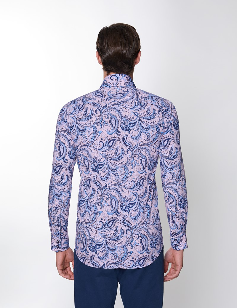 Men's Curtis Paisley Blue & Pink Piccadilly Stretch Slim Fit Shirt - Low Collar - Single Cuff