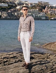 Men's Curtis Brown & Blue Paisley Print Stretch Slim Fit Shirt - Low Collar