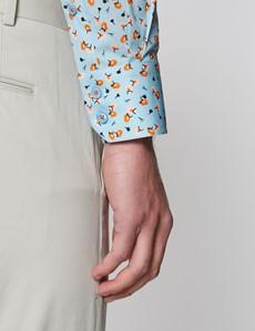 Casual Stretchhemd – Stretch Slim Fit – Kentkragen – hellblau orange Blümchen