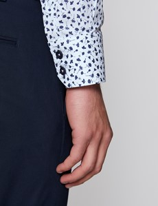 Men's Curtis Floral Print White & Navy Piccadilly Stretch Slim Fit Shirt - Low Collar - Single Cuff