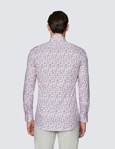 Men's Curtis Pink & Blue Floral Print Stretch Slim Fit Shirt - Low Collar