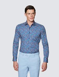 Men's Curtis Navy & Yellow Floral Print Stretch Slim Fit Shirt - Low Collar