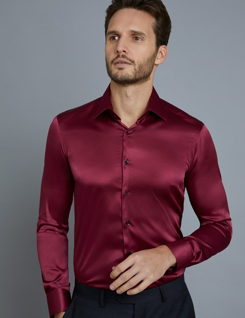Men's Curtis Burgundy Satin Slim Fit Stretch Shirt - Single Cuff