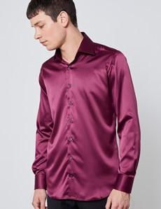 Men's Curtis Burgundy Satin Slim Fit Stretch Shirt - Single Cuff