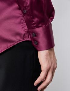 Casual Hemd – Slim Fit – Picadilly – Satin – Burgunder