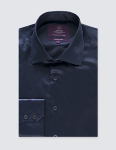 Men's Curtis Navy Satin Slim Fit Stretch Shirt - Single Cuff