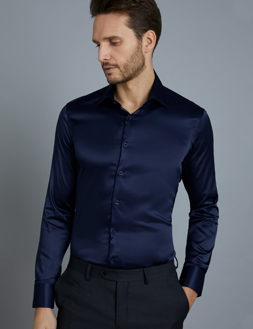 Men's Curtis Navy Satin Slim Fit Stretch Shirt - Single Cuff