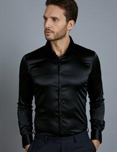 Men's Curtis Black Satin Slim Fit Stretch Shirt - Single Cuff