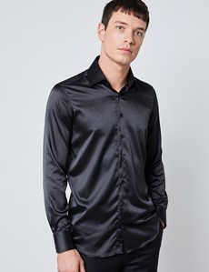 Men's Curtis Black Satin Slim Fit Stretch Shirt - Single Cuff