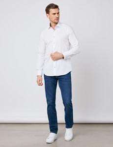 Casual Stretchhemd – Slim Fit – Kentkragen – Weiß mit Paisleykontrasten