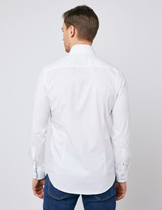Men's Curtis White Cotton Stretch Slim Fit Shirt with Contrast Detail - Single Cuff