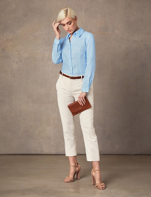 Women's Blue & White Floral Relaxed Fit Linen Shirt