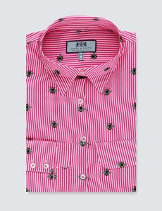 Women's Pink & White Bee Print Relaxed Fit Shirt - Single Cuff