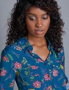 Women's Teal & Red Flower Print Relaxed Fit Shirt - Single Cuff