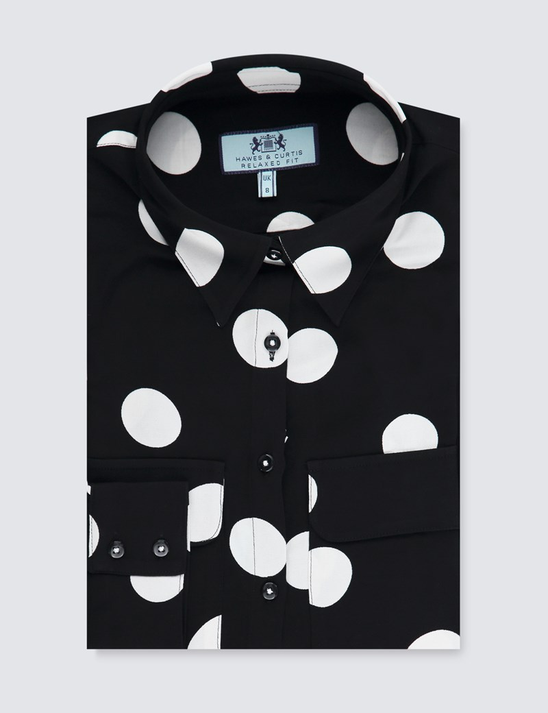 Women's Black & White Spot Relaxed Fit Shirt - Single Cuff