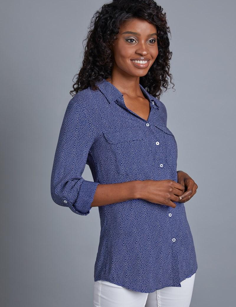 Women's Navy & White Spot Relaxed Fit Shirt - Single Cuff
