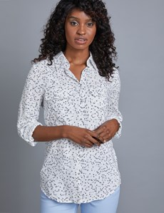 Women's White & Grey  Stars Relaxed Fit Shirt - Single Cuff