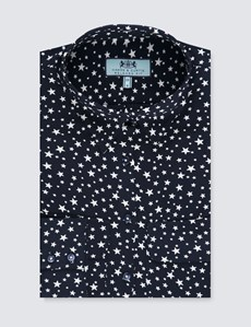 Women's Navy & Cream Stars Relaxed Fit Shirt - Single Cuff
