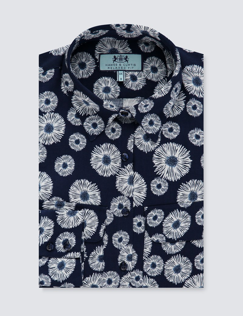 Women's Navy & White Daisy Print Relaxed Fit Shirt - Single Cuff