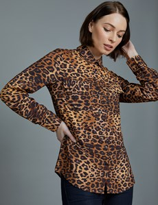 Women's Brown & Black Leopard Print Relaxed Fit Shirt - Single Cuff