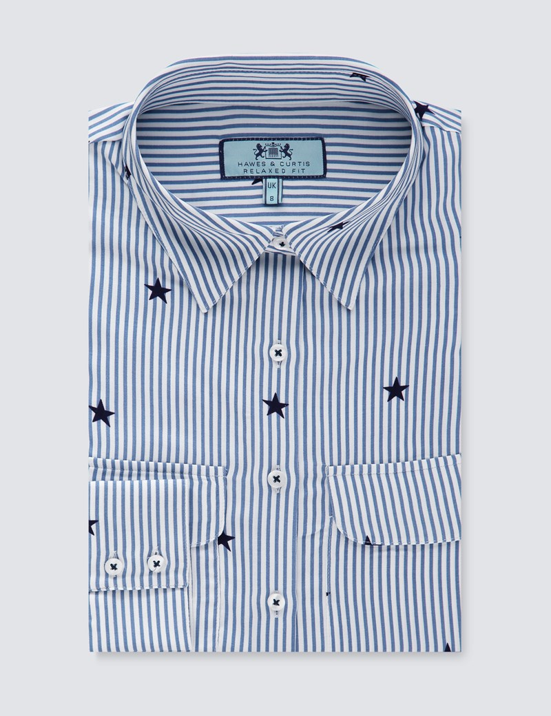 Women's Blue & White Stripe With Stars Print Relaxed Fit Shirt - Single Cuff